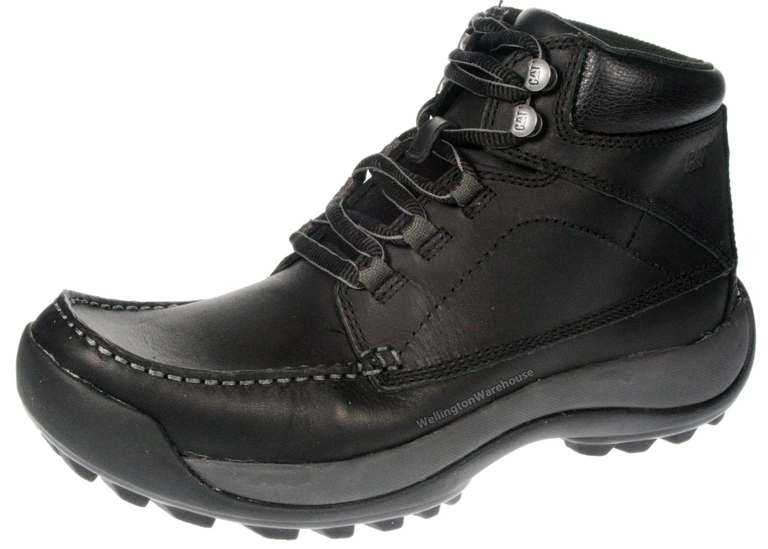 cat caterpillar wildcard black leather lace up mens boots