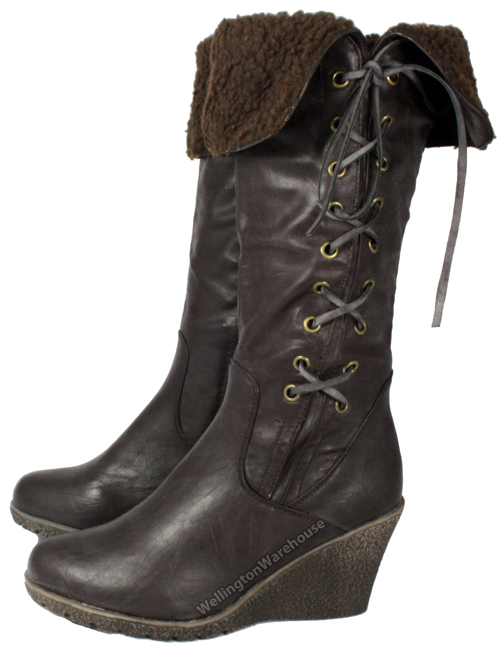 fbl610 manfield stylish s brown wedge heel boots