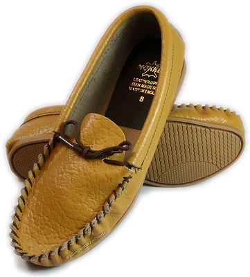 Mens Tan Brown Leather English Made Moccasin Slippers