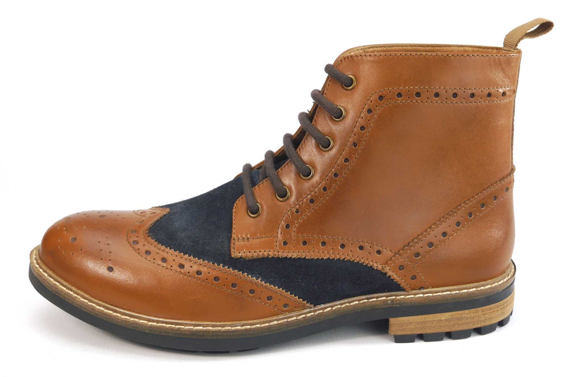 Frank James Bexley Quality Real Leather Lace Up Brogue Rubber Sole Mens Boots