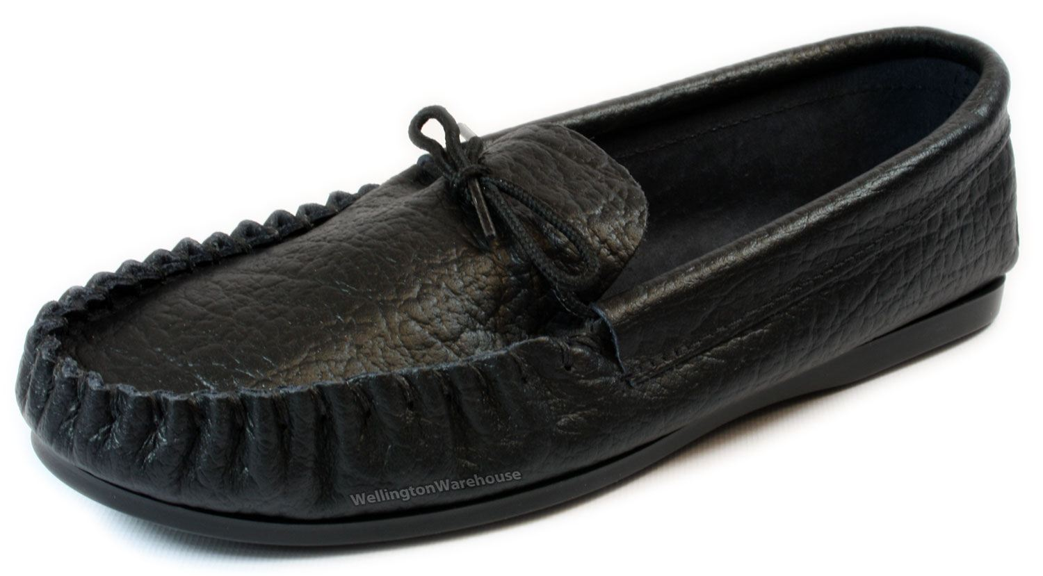 Mens Black Moccasin Slippers English