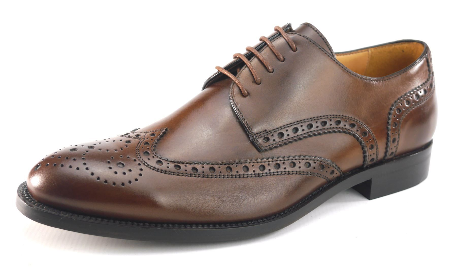 9404f0497ec9 Mercanti Fiorentini Mens Lace Up All Leather Brogue Oxford Cap Brown ...